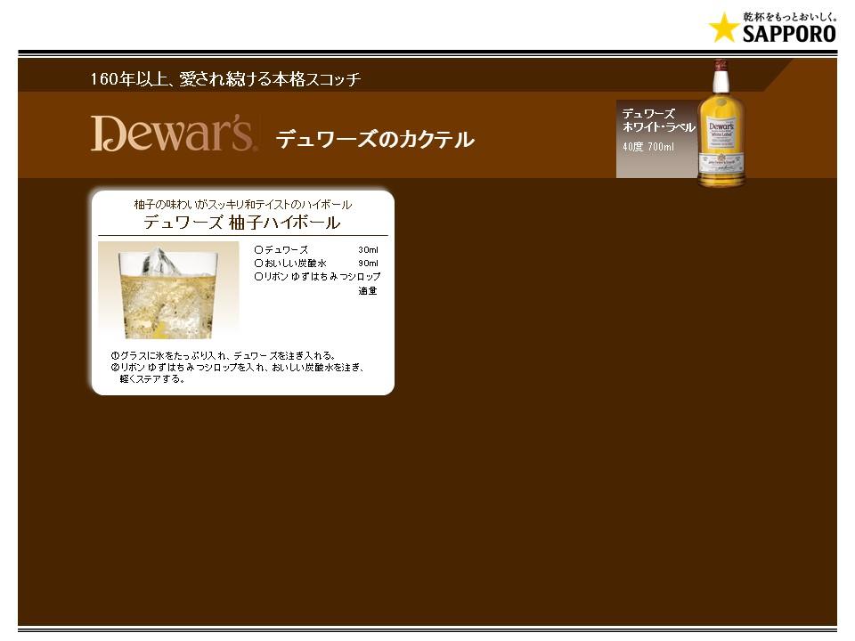 デュワーズホワイトラベルのカクテルレシピ