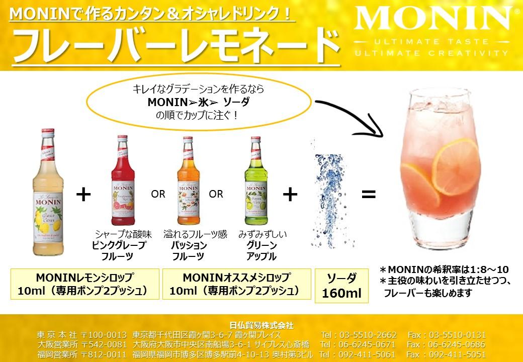 モナンシロップを使ったフレーバーレモネードのご提案
