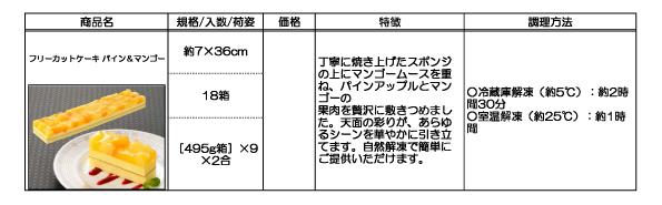 フリーカットケーキ(パイン&マンゴー)の詳細
