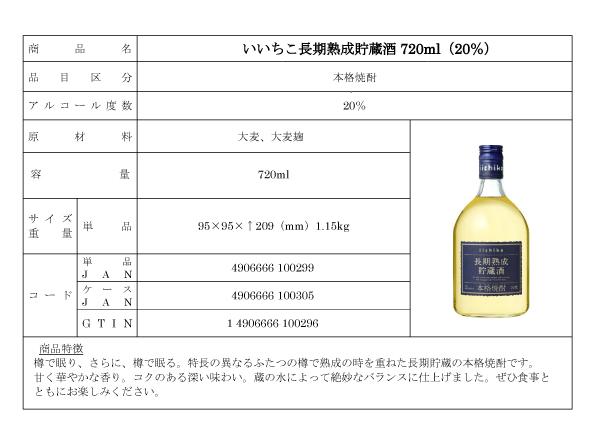 いいちこ長期熟成貯蔵酒の詳細