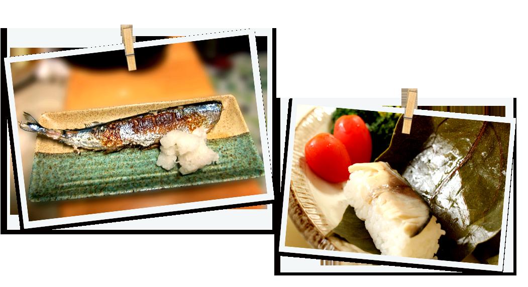 さんまの塩焼きと柿の葉寿司