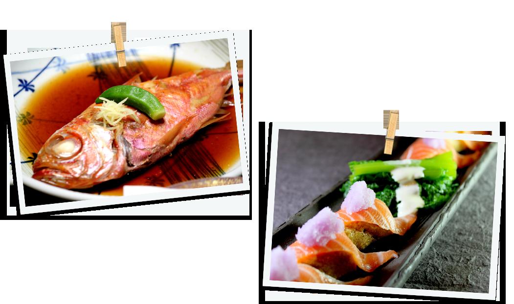 魚の煮付けとサーモンのカルパッチョ