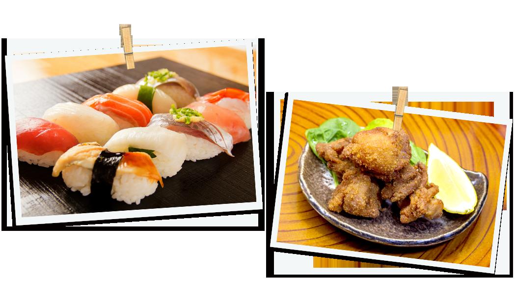 お寿司と唐揚げ